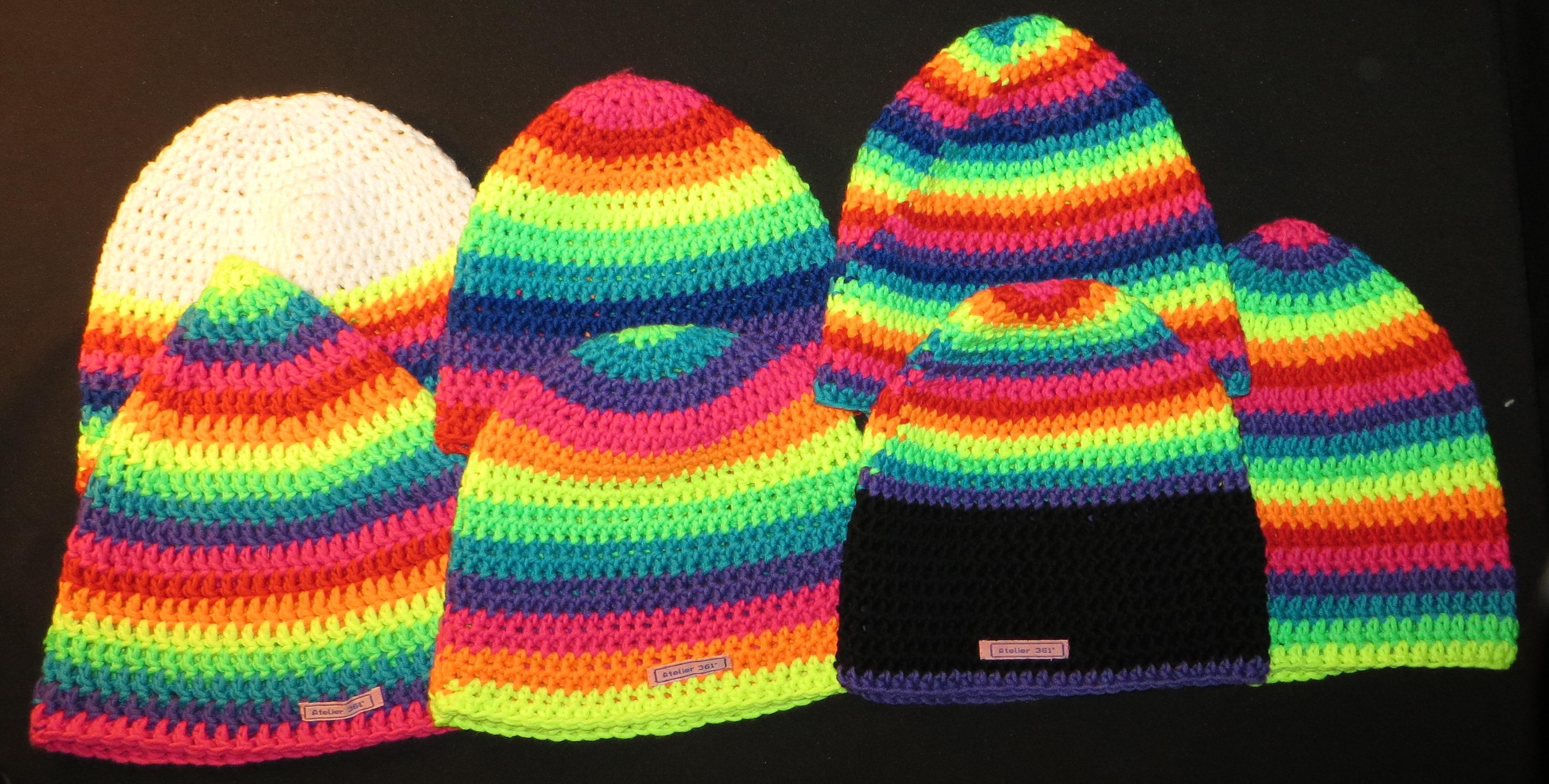 beanie atelier361 mütze bunt neon